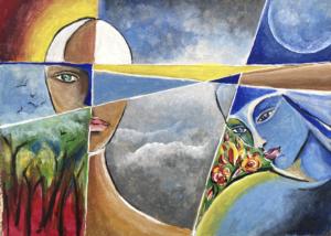 Aquarelle de Rita Leys La Lune & le Soleil